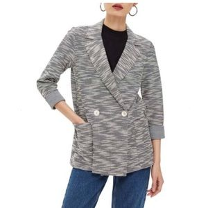 TOPSHOP Boucle Button Jacket Gray Size 10, NWT